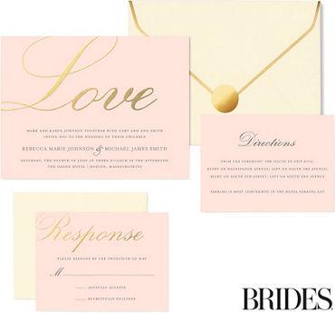 Printable wedding invitations invitation kits party city metallic gold love printable wedding invitations kit 30ct stopboris Images
