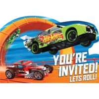 Hot wheels party supplies hot wheels birthday party city hot wheels invitations 8ct filmwisefo Image collections