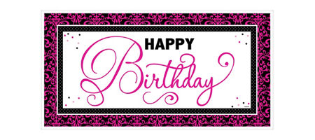 giant black pink birthday banner
