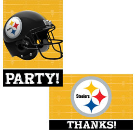 Nfl pittsburgh steelers party supplies party city pittsburgh steelers invitations thank you notes for 8 filmwisefo Gallery