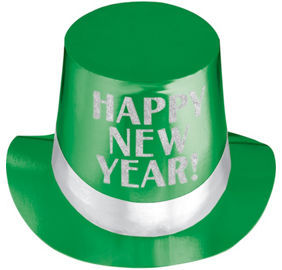green happy new year top hat