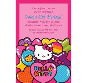 Hello kitty party supplies hello kitty birthday ideas party city custom hello kitty rainbow invitations filmwisefo