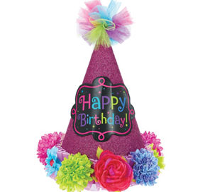 Bright Flowers Happy Birthday Party Hat 5in X 8in