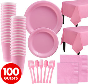 New Pink Plastic Tableware Kit for 100 Guests
