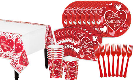 be mine valentines day classroom tableware kit for 32 guests