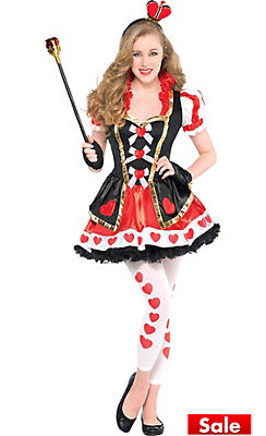 teen girls sassy queen of hearts costume