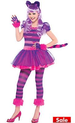 teen girls purple cheshire cat costume