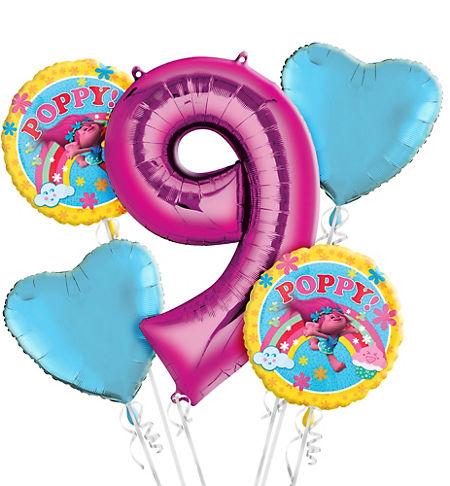 Trolls 9th Birthday Balloon Bouquet 5pc