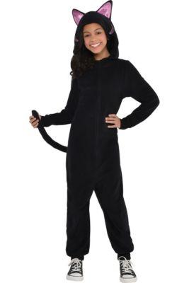 girls zipster black cat one piece costume