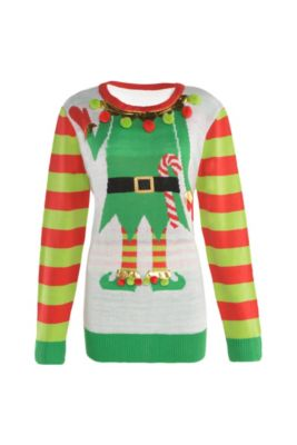 adult jolly elf ugly christmas sweater - Dirty Christmas Sweaters