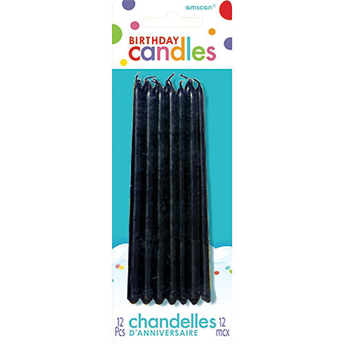 Tall Black Birthday Candles 12ct