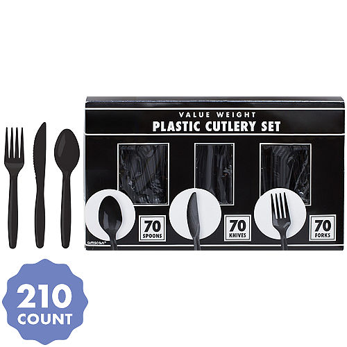 Big Party Pack Black Value Plastic Cutlery Set 210ct