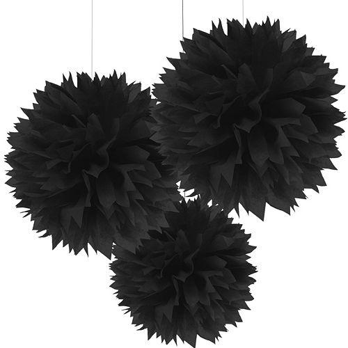 Black Tissue Pom Poms 3ct