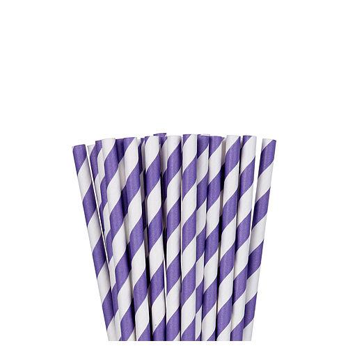 Purple Striped Paper Straws 24ct