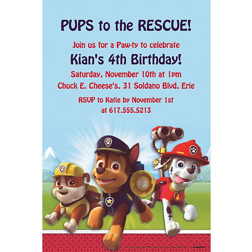 Custom Paw Patrol Invitations