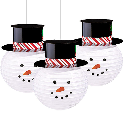 snowman paper lanterns 3ct - Hanging Christmas Decorations