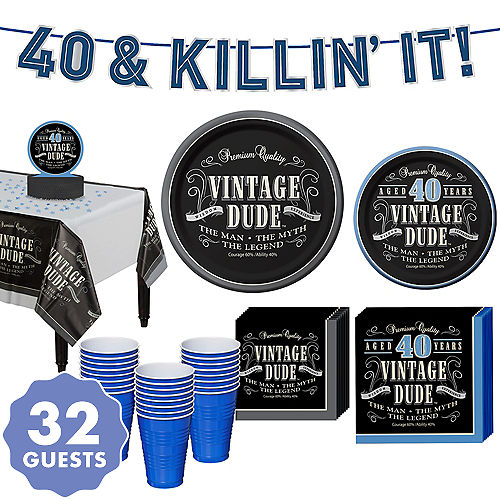 Vintage Dude 40th Birthday Party Kit