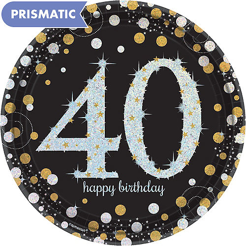 Prismatic 40th Birthday Lunch Plates 8ct