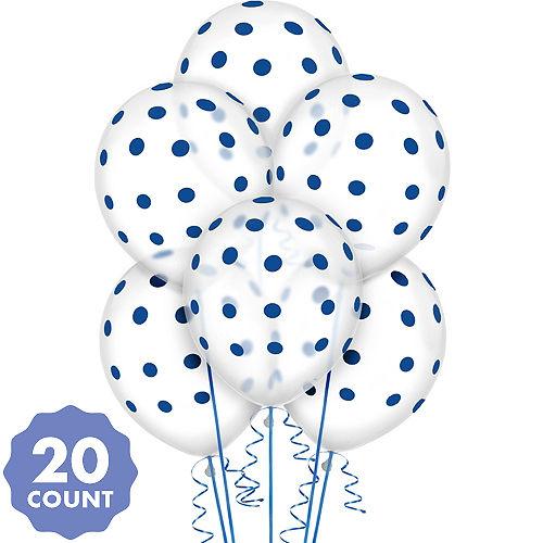Transparent Royal Blue Polka Dot Balloons 20ct