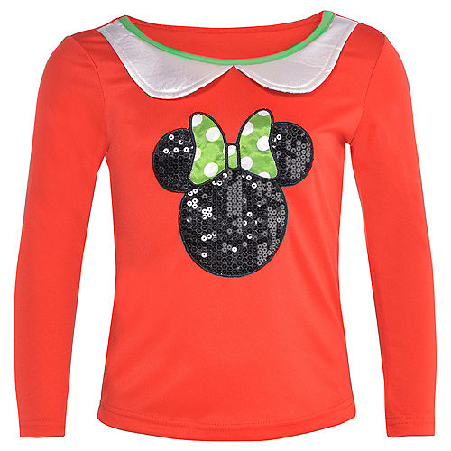 Girls Holiday Minnie Mouse Long Sleeve Shirt