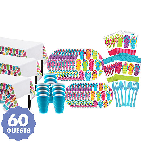 1fe278938c6e Bright Flip Flop Basic Party Kit for 60 Guests