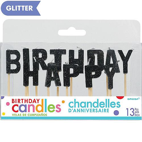 Glitter Black Happy Birthday Toothpick Candle Set 13pc