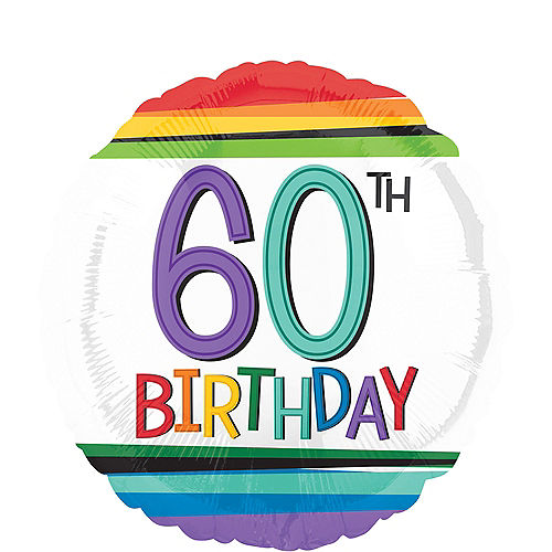 Rainbow 60th Birthday Balloon 17in