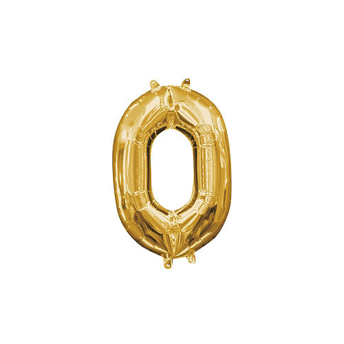 13in Air Filled Gold Number Balloon 0