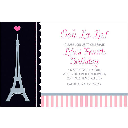 A day in paris party supplies party city custom pink paris party invitation filmwisefo