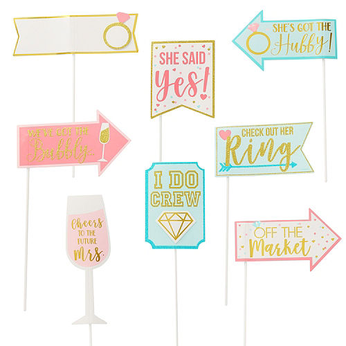 sparkling pink bridal shower photo booth kit 21pc