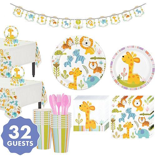 Happy Jungle Giraffe Premium Baby Shower Tableware Kit for 32 Guests