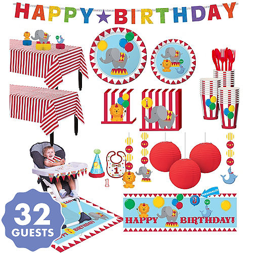 carnival 1st birthday deluxe party kit for 32 guests 1st birthday