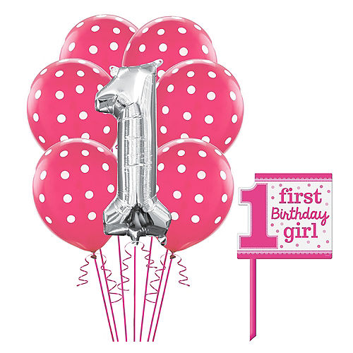 Pink 1st Birthday Yard Sign Kit With Balloons