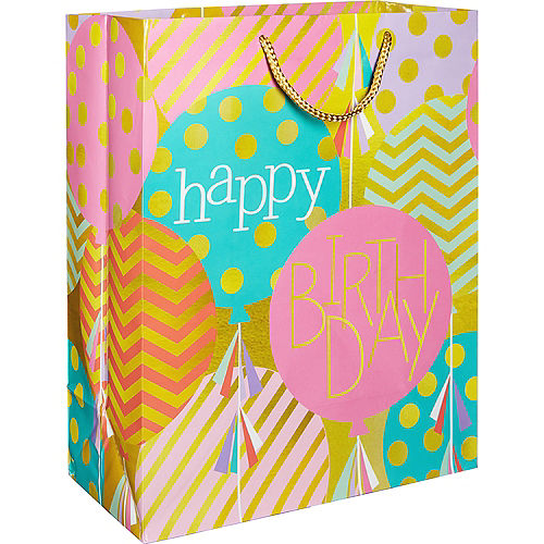 Patterned Balloon Happy Birthday Gift Bag
