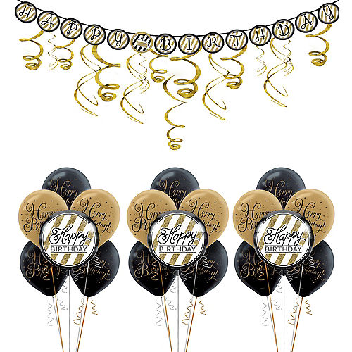 White Gold Striped Happy Birthday Decorating Kit With Balloons