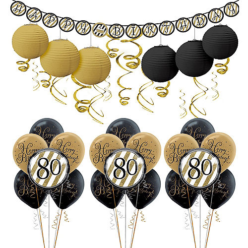 White Gold 80th Birthday Decorating Kit With Balloons