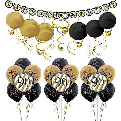 White Gold 90th Birthday Decorating Kit With Balloons