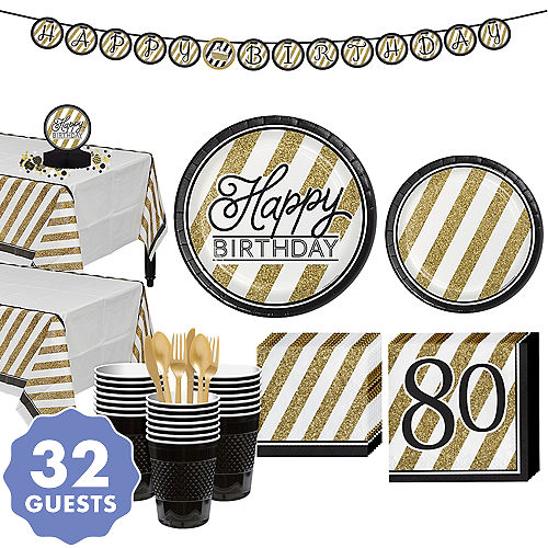 White Gold Striped 80th Birthday Party Kit For 32 Guests