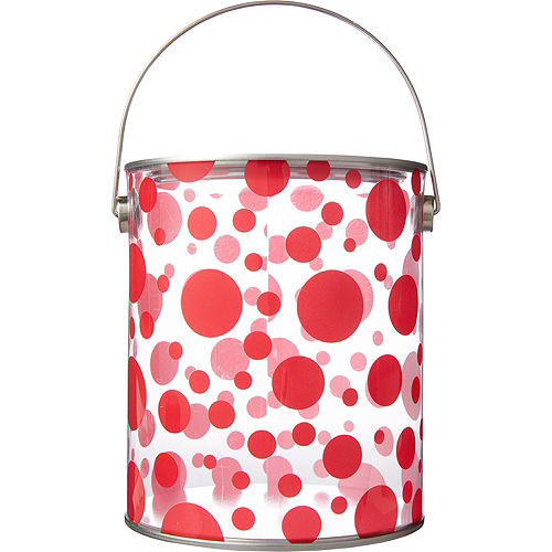 Large Red Polka Dot Plastic Favor Paint Can