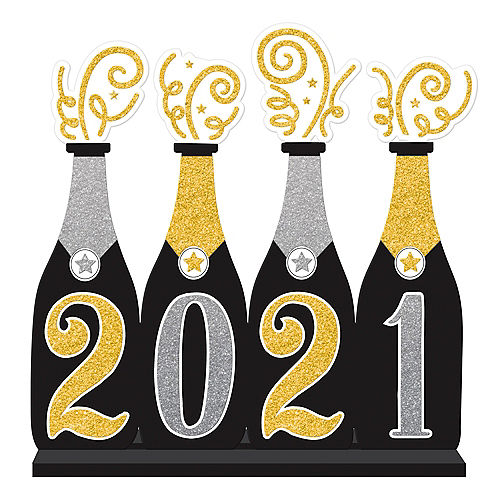glitter gold silver 2019 champagne bottles table sign