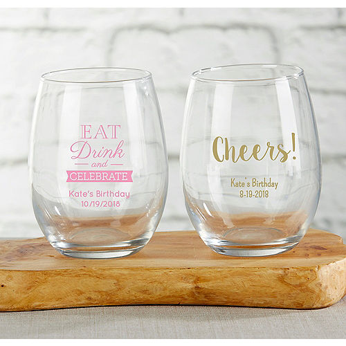Personalized Stemless Wine Glasses 9oz Printed Glass