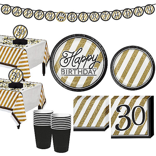 White Gold Striped 30th Birthday Party Kit For 32 Guests
