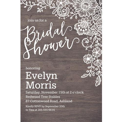 b6d3bfb34cad Custom Wood   Lace Bridal Shower Invitations