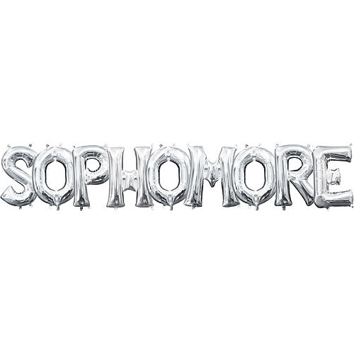 air filled silver sophomore letter balloon kit