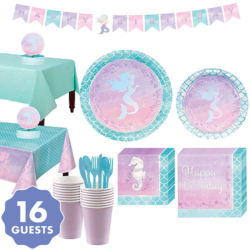 Shimmer Mermaid Basic Party Kit For 16 Guests