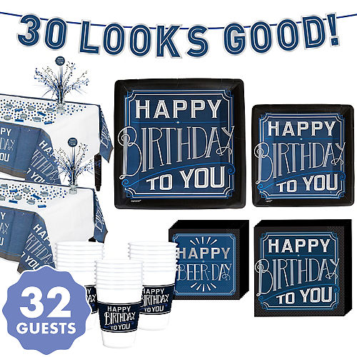 Vintage Happy Birthday 30th Party Kit For 32 Guests