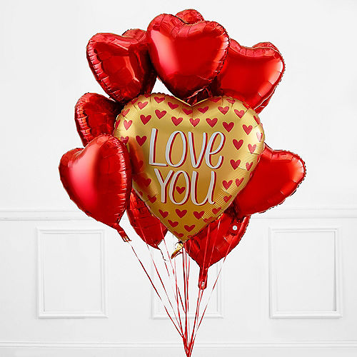 Gold Red Heart Valentines Day Balloon Bouquet