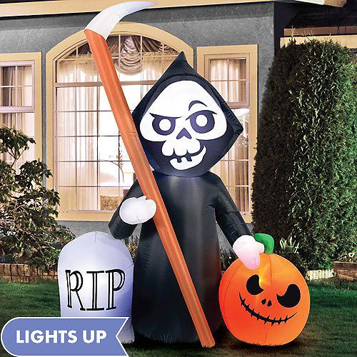 Light-Up Inflatable Graveyard Reaper & Jack-o'-Lantern